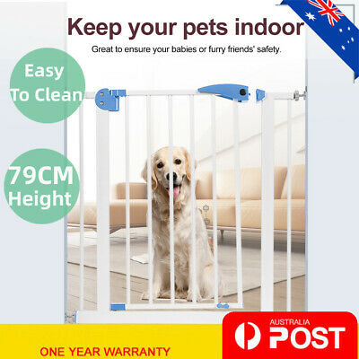79cm Tall Baby Safety Security Gate Adjustable Pet Dog Stair Barrier Cat Door AU