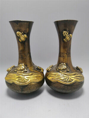 """6.50""""Exquisite Chinese Pure copper gilt Handmade Emboss Lotus flower vase A pair"""