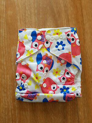 Reusable Modern Cloth Nappies Diaper Modern  Nappy MCN Reusable Pink Owls SHELL