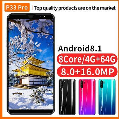 "P33/P33Pro Unlocked Smart Mobile Phone 5""/5.8'' Android Dual Camera 8.1 & S W4A0"