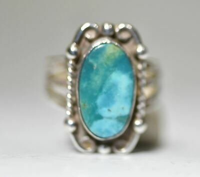 Turquoise ring southwest long pinky sterling silver women girls size 5.25
