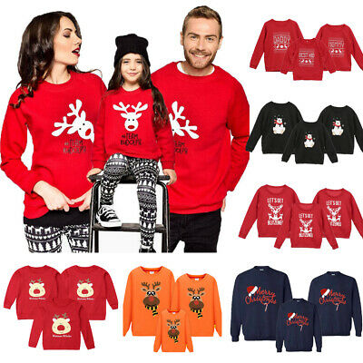 UK Family Matching Adult Kid Xmas Christmas Jumper Sweaters Tops Pullover Blouse