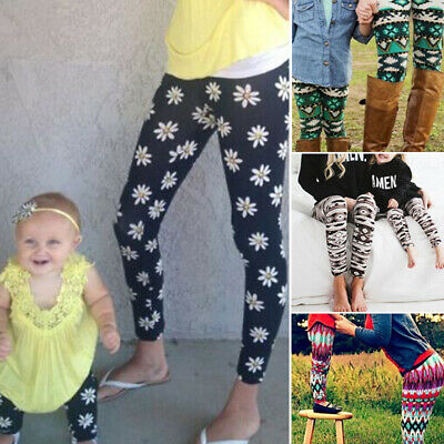 Leggings & Daughter Fashion Pants Girls Trousers Mother Stretchy Printed Slim
