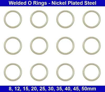 Welded RINGS - 8mm, 15mm, 20mm, 25mm, 30mm, 35mm, 40mm - Nickel Plated