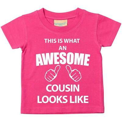 This is What An Awesome Cousin Looks Like Pink Tshirt Baby Toddler Kids Availabl