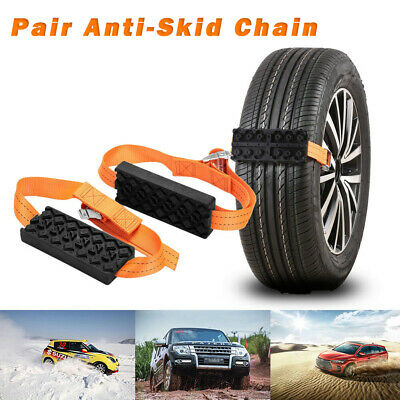 Pair Car Vehicle Snow Chain Saloon Tire Emergency Anti-Skid Strap Safe Universal