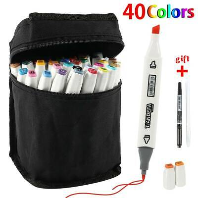 40 Color Marker Pen Set Twin Tip Touch Markers New Graphic Art Sketch Broad Fine