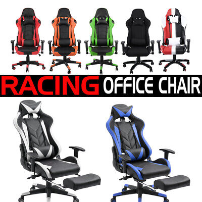 Executive Racing Gaming Computer Office Chair Adjustable Recliner Footrest PU SP