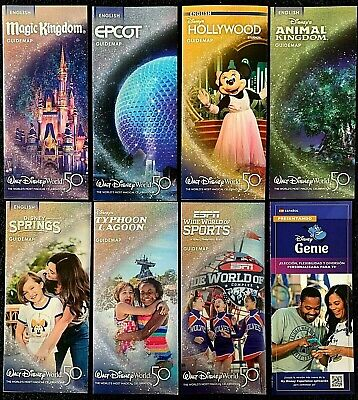 NEW 2019 Walt Disney World Theme Park Brochures - 8 Current maps ++ BONUS !!!