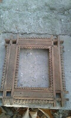 Antique Old Hand Carved Wooden Frame Framework Unique Carving