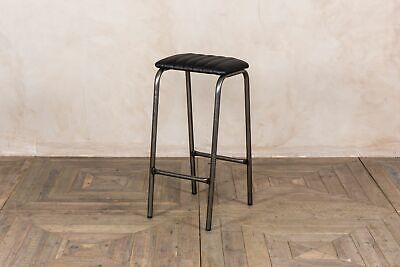 Lab Stool Backless Bar Stool In Ribbed Tan Brown Faux Leather 66Cm Breakfast