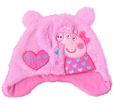 Peppa Pig Girls Pink Love Hearts Ear Flaps Fleece Beanie Hat Childrens Thermal