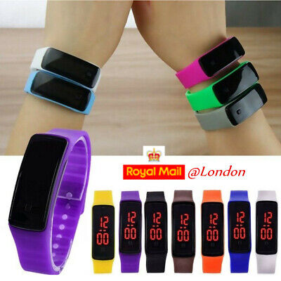 Kids Boys Girls LED Digital Sport Watch Wristwatch Silicone Student Children UK