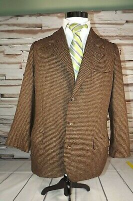 OXXFORD CLOTHES Prince of Wales Brown Plaid Check Tweed Coat Blazer Jacket 43R