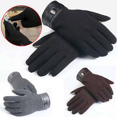 Mens Winter Full Finger Gloves Smartphone Touch Screen Cashmere Mittens USA