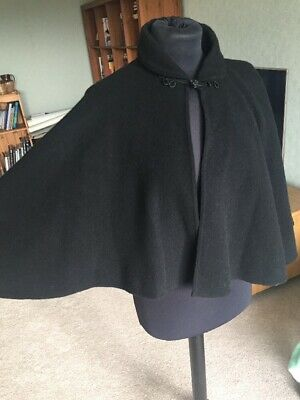 Vintage Black Pure Wool Cape