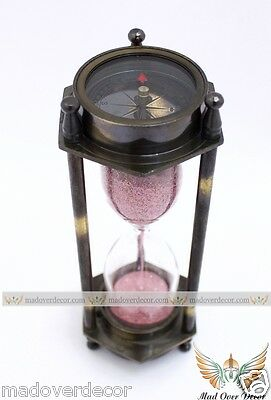 Nautical Brass Antique Finish 2 Sided Compass Hourglass Sand Timer Decor Item