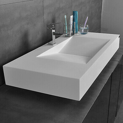 Modern Rectangular Floating V-Shaped Wall-Mounted Bathroom Stone Resin Sink