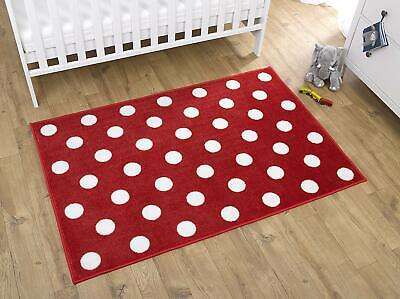 Kids Nursery Rug  Red  With white Spots 100 x 150cm Non slip Polka Dots Play Mat