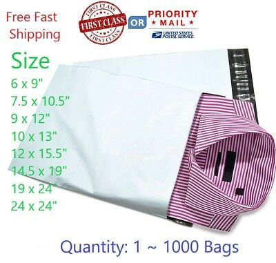 1 ~1000 Multi-Pack size  White Poly Mailers Shipping Envelopes Self Sealing Bags