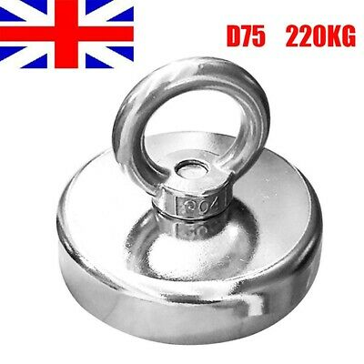 Recovery Fishing Salvage Magnet 220kg Pull Force Neodymium Strong Powerful 75mm