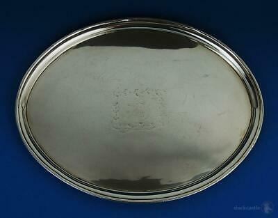 Elegant GEORGE III OLD SHEFFIELD PLATE OVAL TRAY c1795 Family Crest