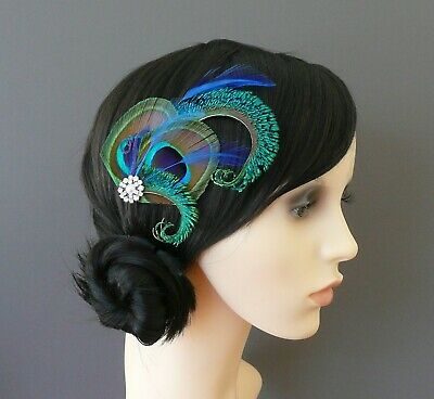 Peacock Feather Hair Clip 1920s Fascinator Wedding Bridesmaids Flapper Althea