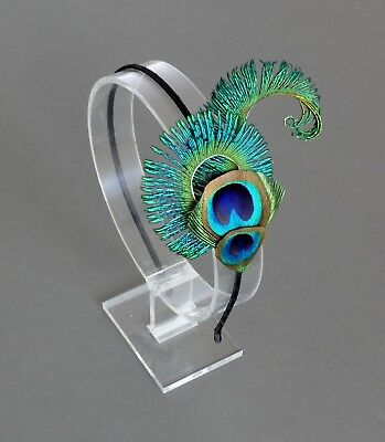 'Peacock Curl' Feather HEADBAND Handmade Fascinator Feathers Wedding Bridesmaids