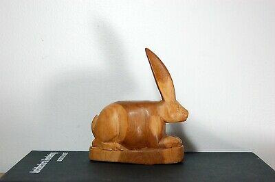 Vintage Hand Carved Wood Bunny Rabbit | Primitive | Folk Art