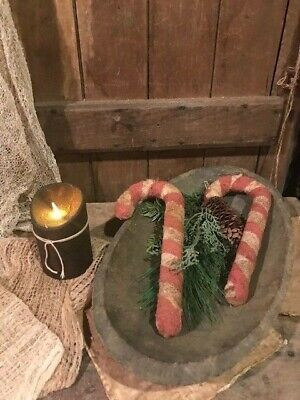 Primitive Christmas CANDY CANES Bowl Filler Early Look Homestead Peg Hanger