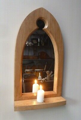 Gothic Arch Solid Wooden English Oak Keyhole Mirror & Shelf 52 cm long Hand Made