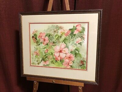 Original Watercolor Flowers Signed S Cowling Framed and Matted