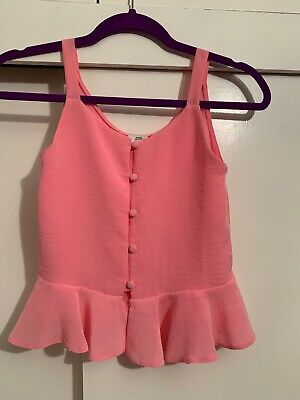 Girls Pink Top Blouse River Island Pink size 10 years used good condition