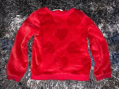 Girls Size 4-6 Years H&M Super Soft Red Hearts Pullover Sweater Winter Wear Cute