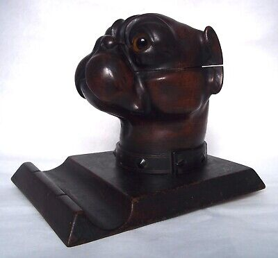 ANTIQUE BLACK FOREST VICTORIAN CARVED WOOD BOXER DOG HEAD INKWELL w PEN HOLDER