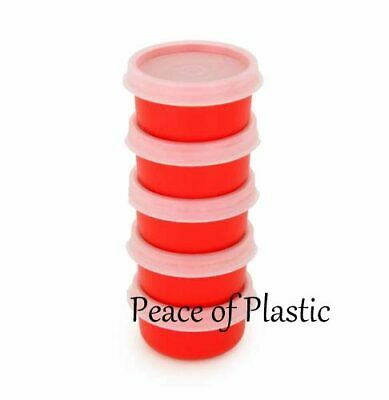 Tupperware NEW Set 5 Red Smidget Smidgets Mini Containers Sheer Seals