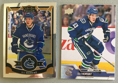 2 Bo Horvat Cards 2015-16 OPC Platinum #61 & 2016-17 Upper Deck #177 - Canucks