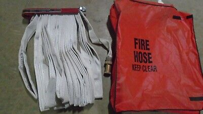 FIRE HOSE ELKHART S-41 PIN RACK 100 FT NOZZLE 1 1/2 250 PSI Coupling w/ Cover