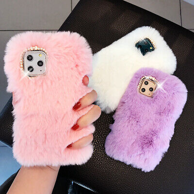 For iPhone 11 Pro Max XR X 7 8 Plus Glitter Faux Furry Fur Soft Phone Case Cover