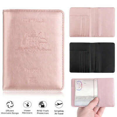 PU Leather RFID Blocking Passport Travel Wallet Holder ID Cards Cover Case AU