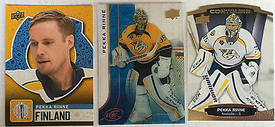 3 Pekka Rinne Cards 2016-7 UD WORLD CUP #WCH-24 & 2015-6 Ice #8, Contours #15