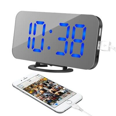 Mirror Snooze Digital Alarm Clock LED Display Portable USB/Battery Operated 2019