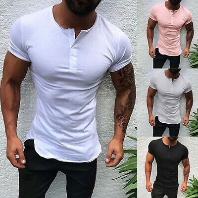 Mens Slim Fit Short Sleeve T Shirt Muscle Casual GYM Blouse Tops Henley Shirts