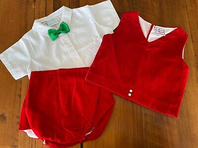 Vintage Xmas 4 piece outfit, shirt, bow tie, red velour shorts & vest 6 -9 mths