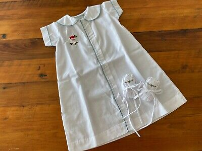 Vintage newborn Xmas coming home gown & new bootees, reborn