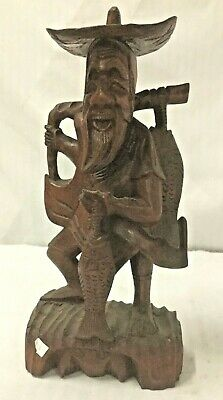 Vintage Chinese Hand Carved Wood Figure of Fisherman Statue Signed