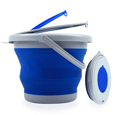 Portable Collapsible Folding Fishing Bait Water Mop Bucket Pail with Lid 5L/10L