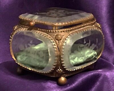 Antique French Etched Beveled Glass Square Casket Trinket Brass Jewel Box