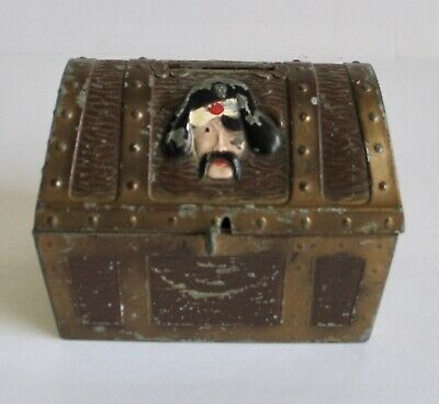 Vintage Metal Pirate Treasure Chest Coin Bank Island Ship Pirates Chicago USA