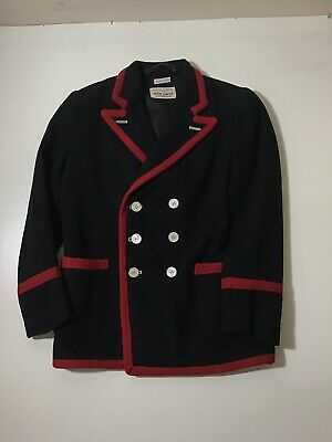 Vintage 50s Childs Wool Double Breasted School Blazer Black With Red Braiding
